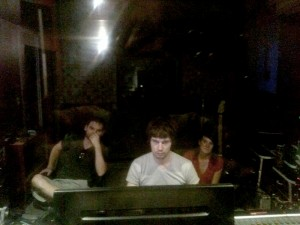 Simon, Darek and Kate in the studio